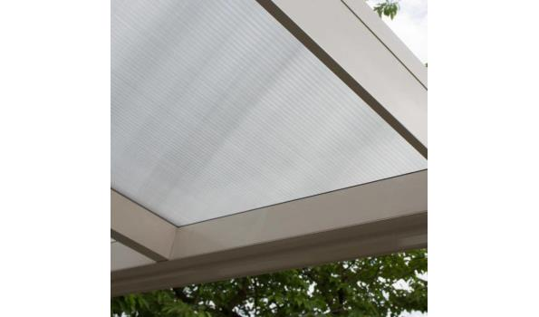 Terrasoverkapping, Aluminium crème wit met polycarbonaat dak, helder, rond