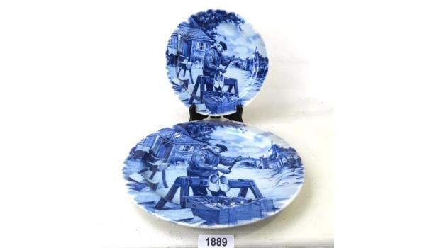 Stel Delft Blauw porseleinen sierborden