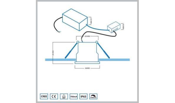 Inbouw Ledverlichting voor aluminium terrasoverkapping set 6 stuks