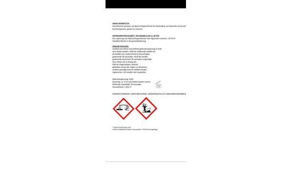 Halve Pallet Desinfectant - aantal 240 flessen á 1ltr (geen veilingskosten)