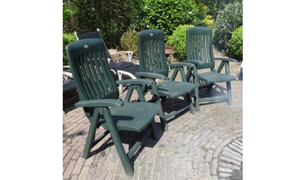 3 Hartman kunststof opklapbare tuinstoelen met hoge rugleuning
