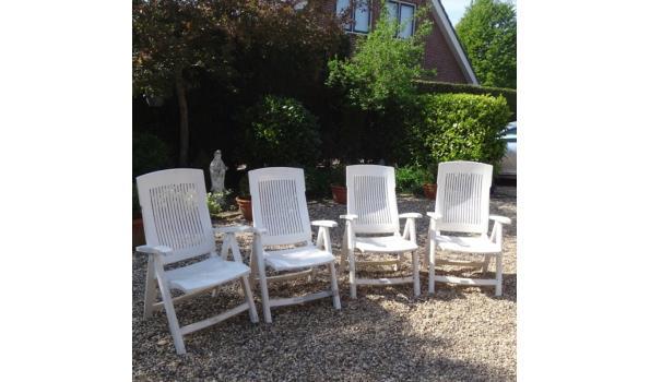 4 Aquariuskunststof opklapbare tuinstoelen met hoge rugleuning