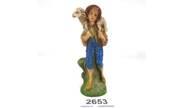 Oud beeld jongen met schaap