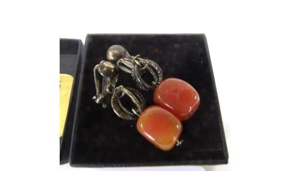Paar stenen oorsieraden in doosje