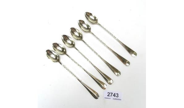 6 Venetiaans zilveren sorbetlepels