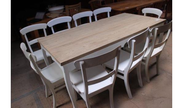 Eetkamertafel met negen stoelen