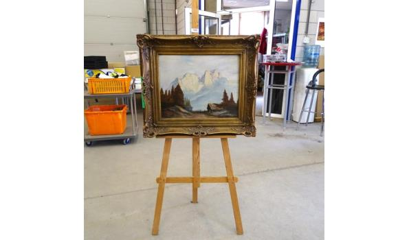 Olieverfschilderij op doek in mooie klassieke lijst