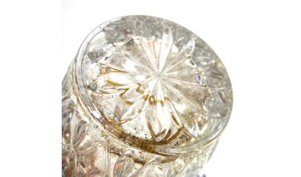 Kristallen hengsel pot met verzilverde rand