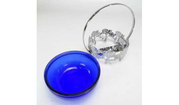 Verzilverde suikerschaal met glazen binnenbak