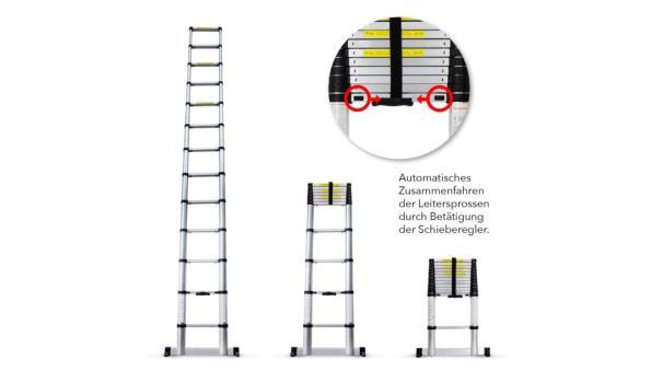 Grafner telescopische ladder 3.8m met soft close