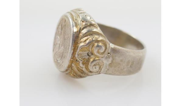 Antieke zilveren ring met monogram