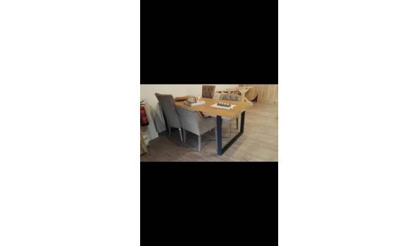 Eiken tafel met industrieële poten, zwart, 200 x 100 cm
