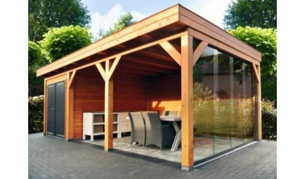 Douglas veranda met schuur 900x400cm / 300x400 schuur
