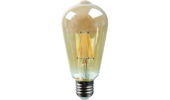 LED lamp E27, 4 watt, filament, amber, 5x