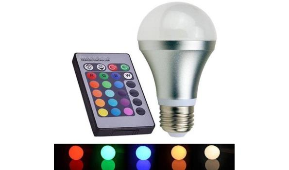LED lamp E27, 3 watt, multiolor, dimbaar, met afstandbediening, 2x