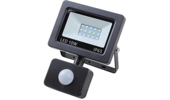 LED straler, 10 watt met bewegingsmelder, 4x
