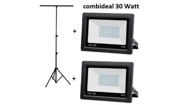 Statief + 2 LED stralers 100 watt