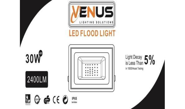 10 x Venus 30w LED Breedstraler - waterdicht IP65 - 6500K koud wit.