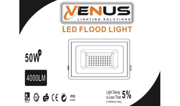 20 x Venus 50w LED Breedstraler - waterdicht IP65 - 6500K koud wit.