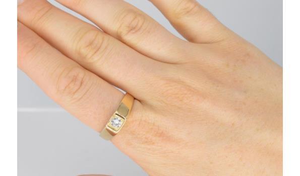 Retro gouden zegel ring voor mannen en vrouwen met een heldere diamant