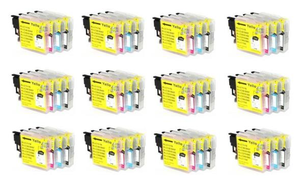 Printer Cartridge LC-9800/LC-985/LC-1100 Multipack 4 stuks voor Brother, 12x