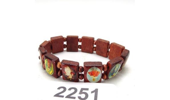 Houten armband (elastisch) met religieuze afbeeldingen