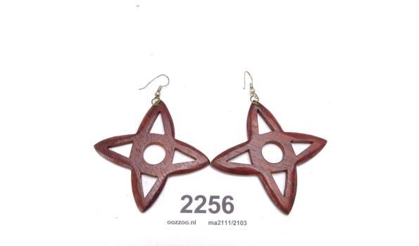 Paar houten oorhangers