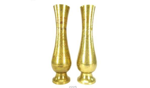 Paar gedecoreerde brons/messing voetvazen