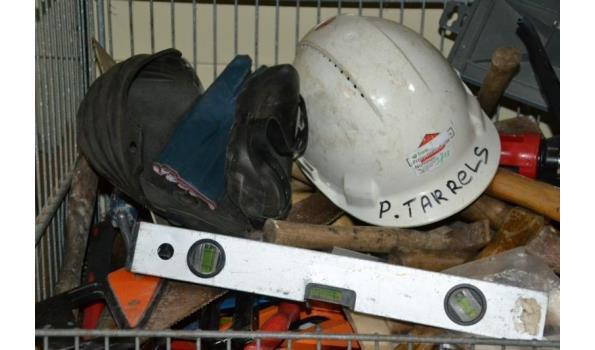 Bouwgereedschappen, diverse o.a. bouwhelm, kniebeschermers & handschoenen