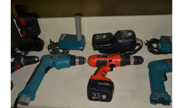 Partij gereedschap o.a. Makita accuboormachines