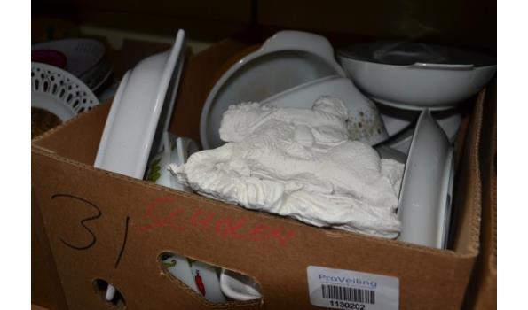Partij huishoudelijke artikelen in doos o.a. schalen