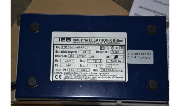 Accu-/ Batterij lader onboard, 24 volt, charger set voor 100 Ah, ingesteld voor GEL-batterijen