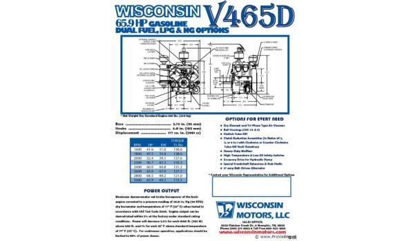 Wisconsin motor V465D (old-timer 4-cilinder lichtgewicht motor)