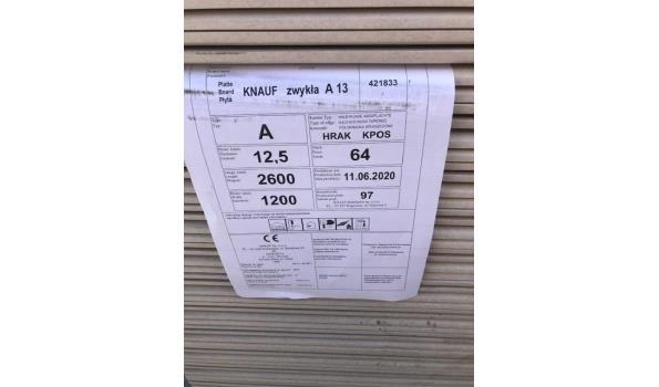 KNAUF gipsplaten 260x120cm voor douche, keuken natte cel 3.12m2 per plaat - totaal 64 platen ( 1 pallet)