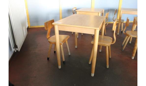 Kinder/schooltafel incl. 2 houten stoelen - 70x50x60cm