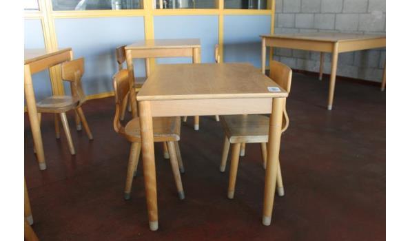 Kinder/schooltafel incl. 2 houten stoelen - 70x50x53cm