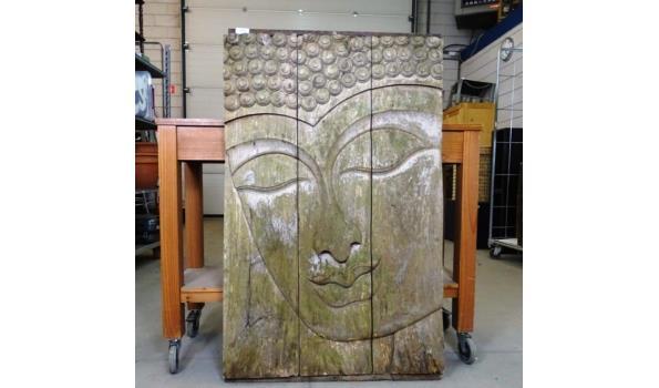 Groot massief teakhouten paneel met gesneden afbeelding Boeddha