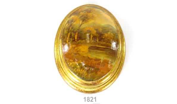 Olieverfschilderij op gebold ovalen paneel
