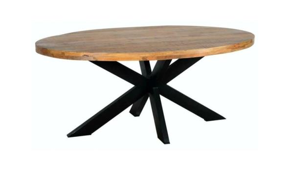 Industriële mango tafel ovaal 200x100 cm