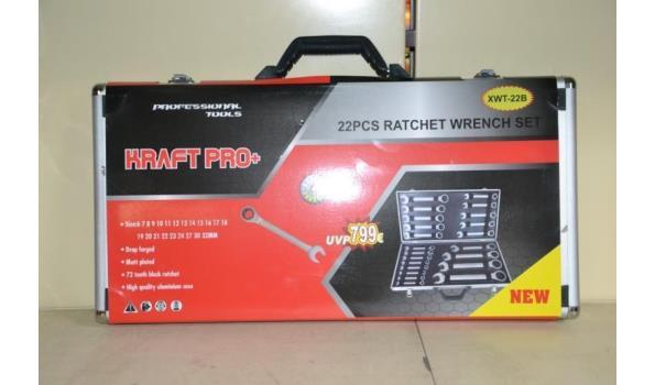 Kraft Pro+ steek/ringsleutel set, 22dlg