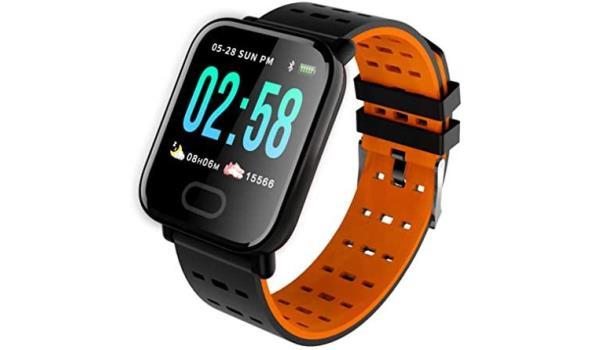 Smart Sport Watch - Zwart met oranje binnen kant
