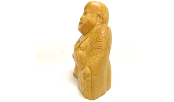 Massief houten Chinese happy Boeddha