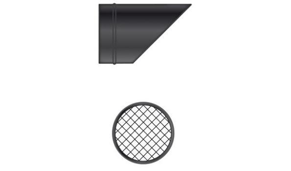 MT EW 100 mm Ø Uitloop schuin V met rooster - 2 stuks