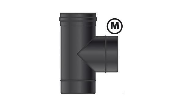 MT EW 100 mm Ø T-Stuk  V-M-M RVS zwart incl. dop