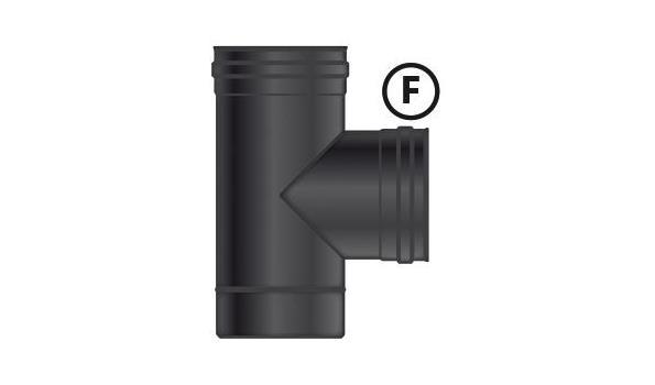 MT EW 100 mm Ø T-Stuk  V-V-M RVS zwart incl. dop