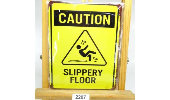 Metalen bord caution