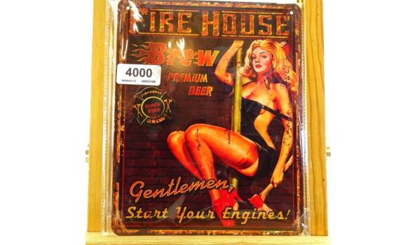 Metalen bord fire house
