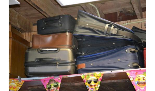 Partij koffers, diverse soorten en maten