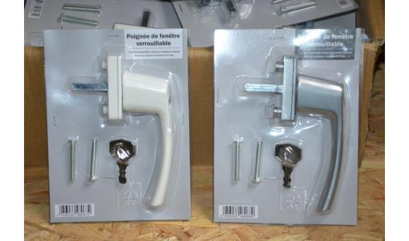 Partij afsluitbare vensterklinken incl. cilinderslot met 2 sleutels