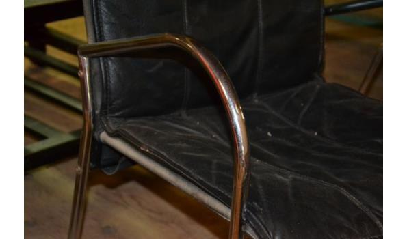 Vergaderstoel - kleur zwart (skai) leder